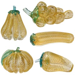 Barovier Toso Murano Gold Flecks Italian Art Glass Grapes Gourds Pepper Fruits
