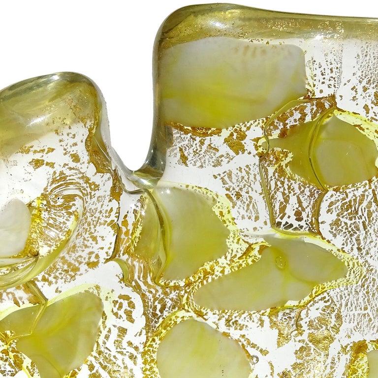 Barovier Toso Murano Gold Flecks Italian Art Glass Scissor Cut Rim Ashtray Dish For Sale 4