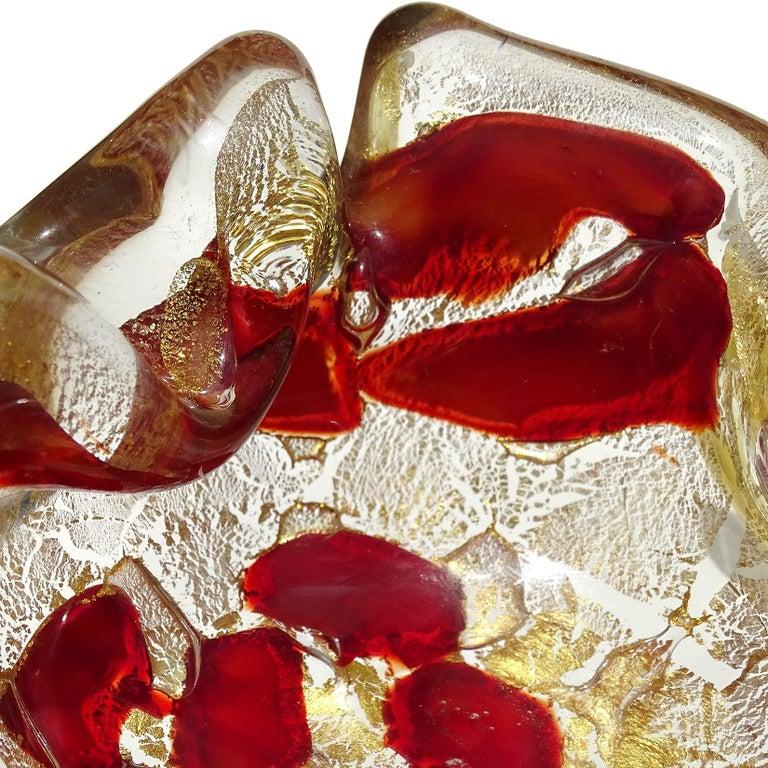 Barovier Toso Murano Gold Flecks Italian Art Glass Scissor Cut Rim Ashtray Dish For Sale 5