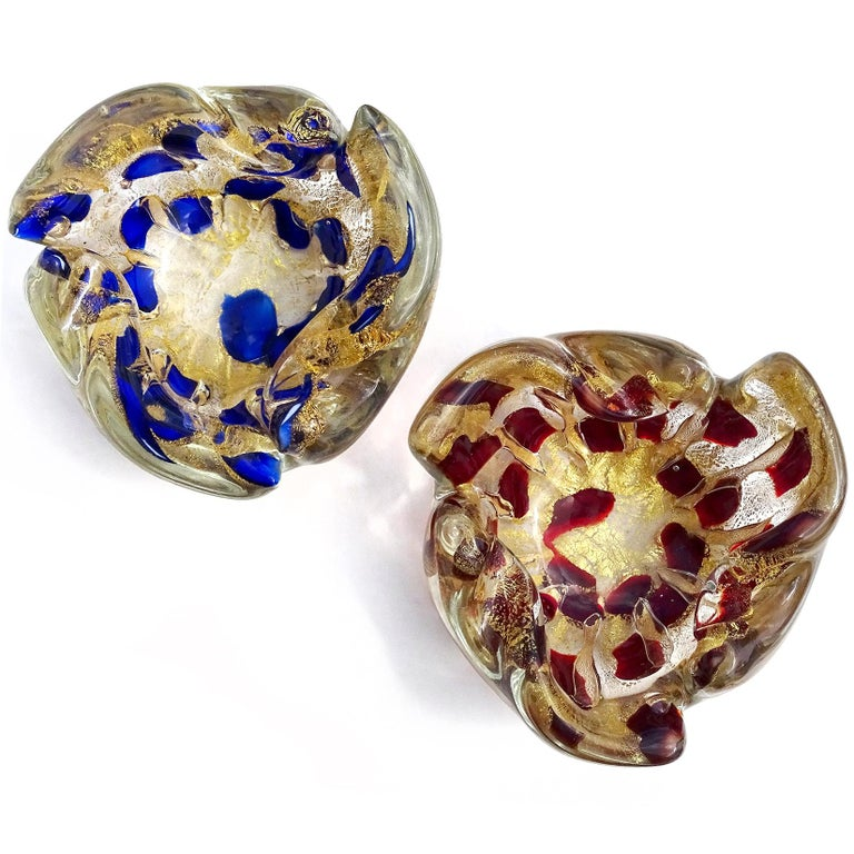 Priced per item (2 colors available as shown). Beautiful vintage Murano hand blown gold flecks Italian art glass bowl or ashtray. Documented to the Barovier e Toso Company. One decorated with cobalt blue color spots, and the other with dark red. The