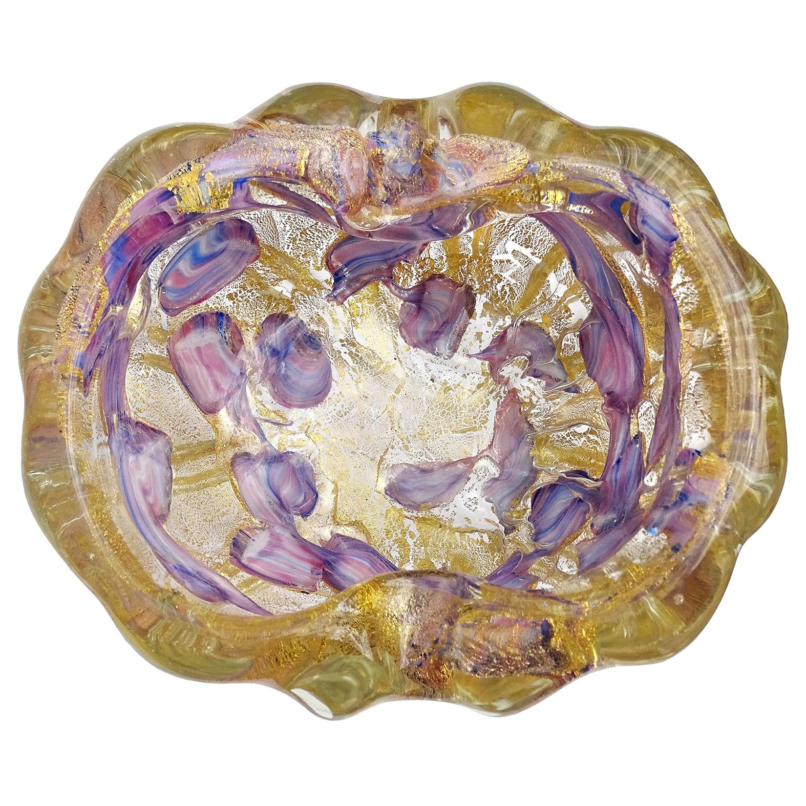 Barovier Toso Murano Gold Flecks Purple Blue Spots Italian Art Glass Bowl