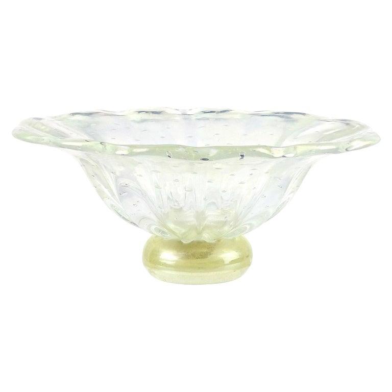 Barovier Toso Murano Iridescent Gold Flecks Italian Art Glass Centerpiece Bowl For Sale