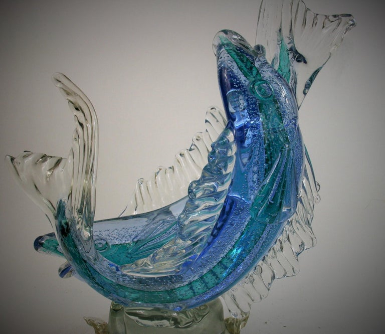 Barovier & Toso Murano Large Glass Double Fish Sculpture For Sale 5