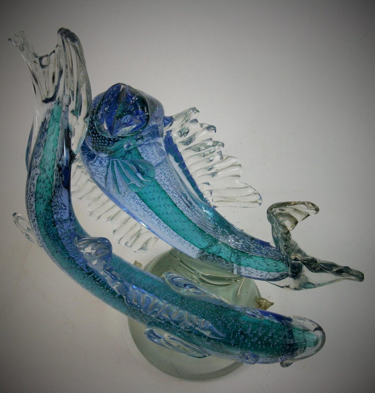 Barovier & Toso Murano Large Glass Double Fish Sculpture For Sale 6