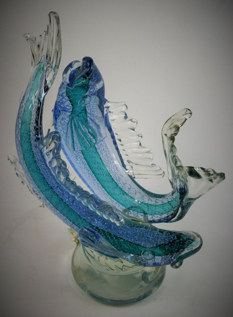 Barovier & Toso Murano Large Glass Double Fish Sculpture For Sale 7
