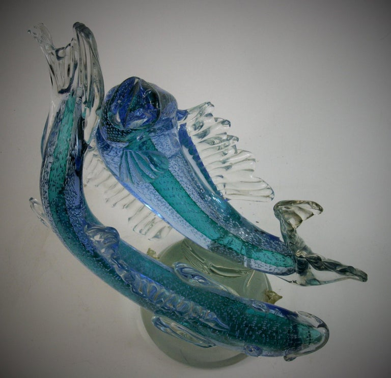 Barovier & Toso Murano Large Glass Double Fish Sculpture For Sale 8