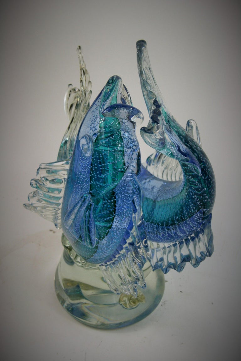 Art Glass Barovier & Toso Murano Large Glass Double Fish Sculpture For Sale