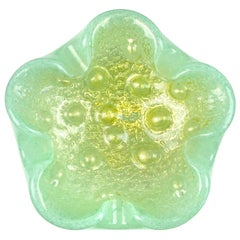 Barovier Toso Murano Light Green Gold Flecks Italian Art Glass Bowl Ashtray