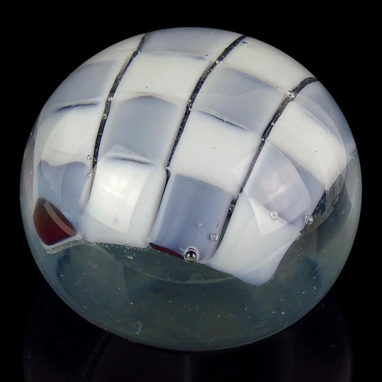 Beautiful large Murano hand blown opalescent checker board design Italian art glass paperweight. Documented to the Barovier e Toso Company, in a Pezzato design. The darker opal squares are dark red covered in white opalescent. It has an original