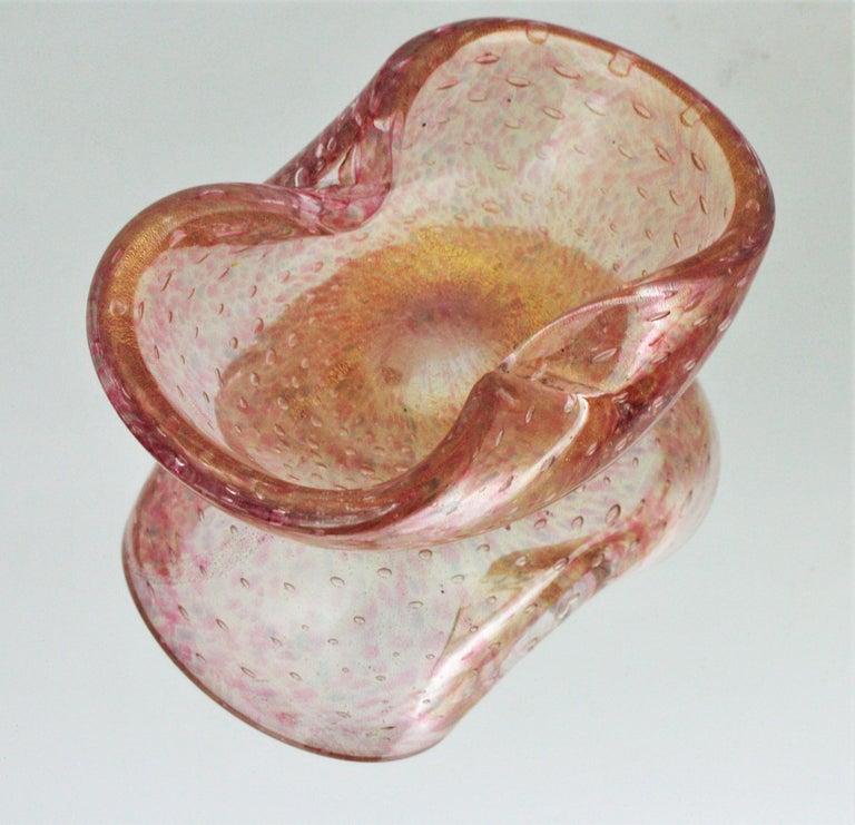 Barovier Toso Murano Pink Gold Flecked Bullicante Art Glass Bowl /Ashtray For Sale 3