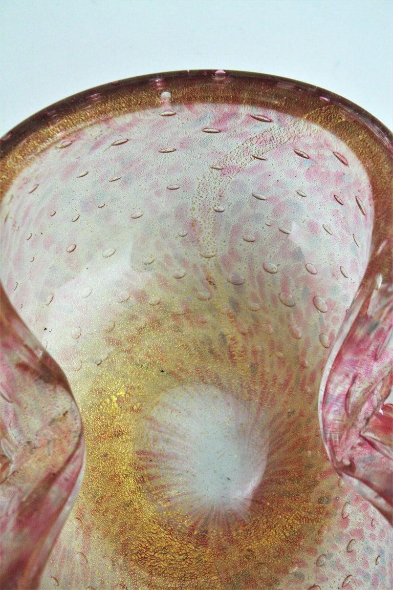 Barovier Toso Murano Pink Gold Flecked Bullicante Art Glass Bowl /Ashtray For Sale 4
