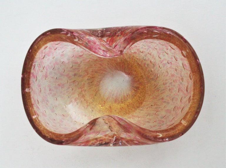 Barovier Toso Murano Pink Gold Flecked Bullicante Art Glass Bowl /Ashtray For Sale 6