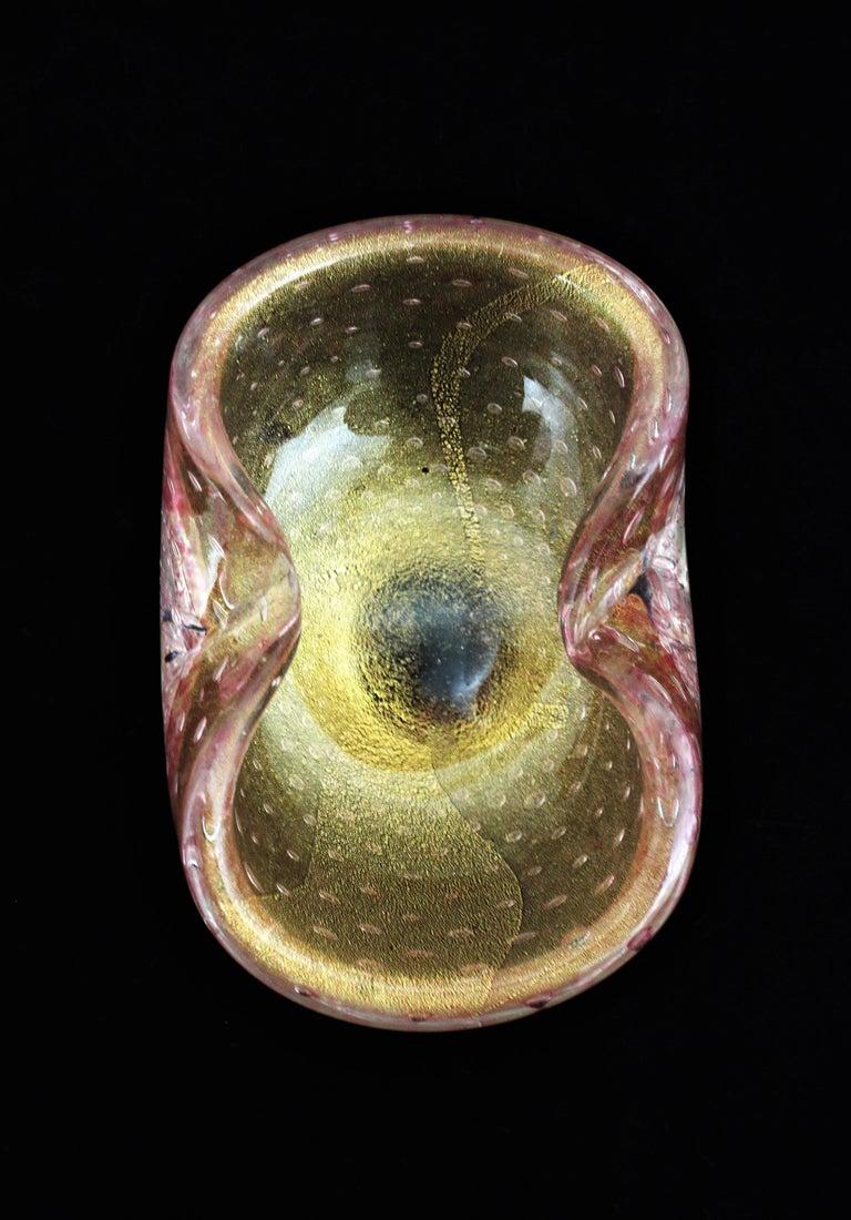Barovier Toso Murano Pink Gold Flecked Bullicante Art Glass Bowl /Ashtray For Sale 1