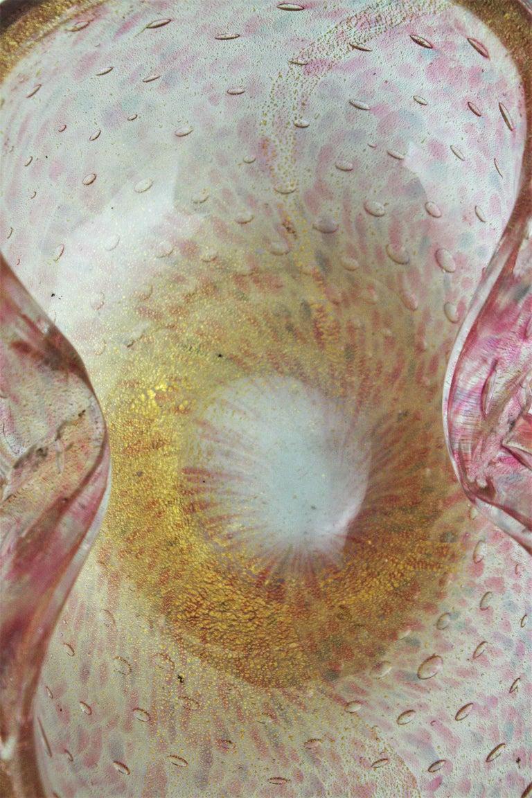 Barovier Toso Murano Pink Gold Flecked Bullicante Art Glass Bowl /Ashtray For Sale 2