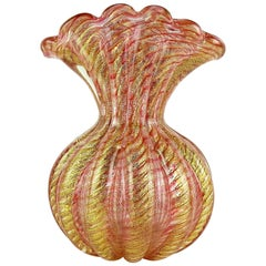 Barovier Toso Murano Pink Stripes Gold Flecks Italian Art Glass Fan Flower Vase