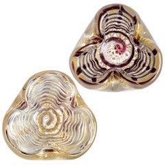 Barovier Toso Murano Purple Gray Gold Italian Art Glass Decorative Dish Bowls