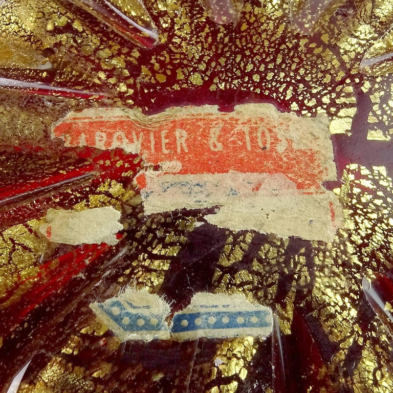 20th Century Barovier Toso Murano Red Gold Flecks Italian Art Glass Flower Star Flared Bowl For Sale