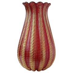 Barovier Toso Murano Red Gold Flecks Italian Art Glass Ribbed Flower Vase
