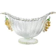 Barovier Toso Murano Silver Gold Flecks Grapes Italian Art Glass Compote Bowl