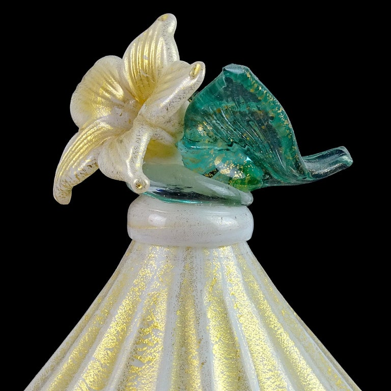 Art Deco Barovier Toso Murano White Aqua Gold Flecks Italian Art Glass Jar Container For Sale