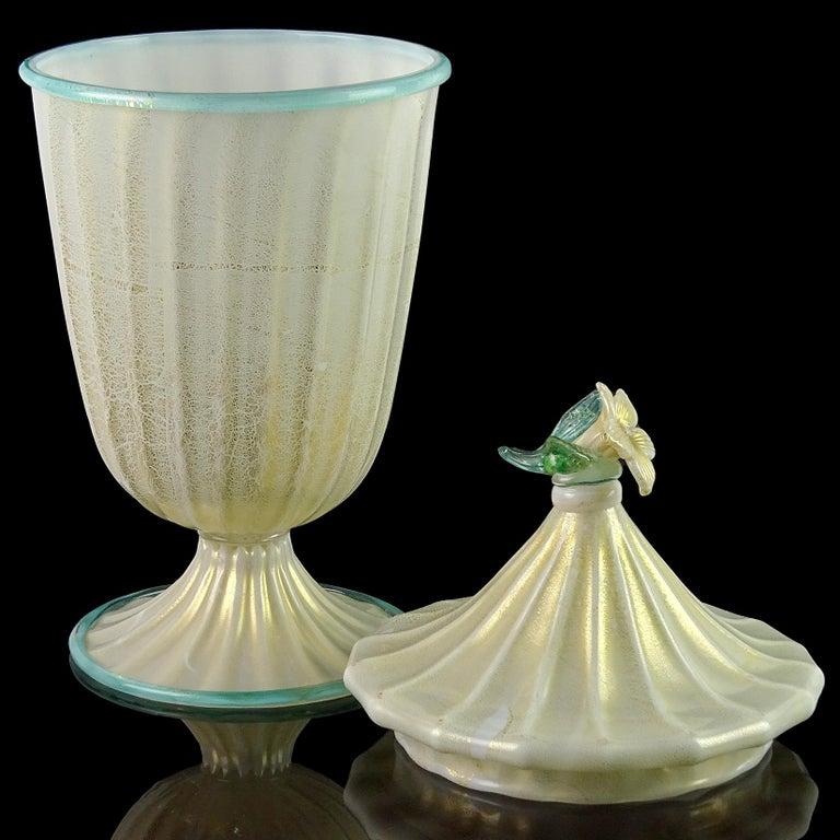 Hand-Crafted Barovier Toso Murano White Aqua Gold Flecks Italian Art Glass Jar Container For Sale