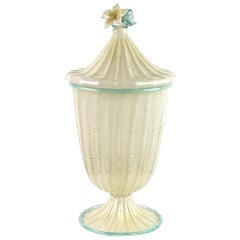 Barovier Toso Murano White Aqua Gold Flecks Italian Art Glass Jar Container