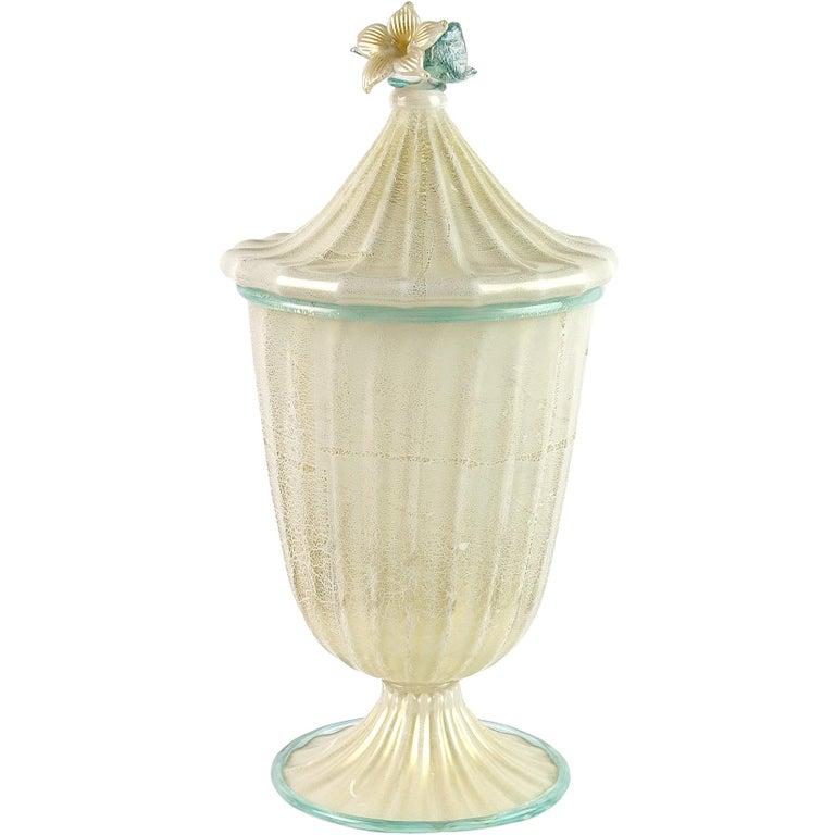 Barovier Toso Murano White Aqua Gold Flecks Italian Art Glass Jar Container For Sale