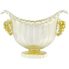 Barovier Toso Murano White Gold Flecks Grape Italian Art Glass Compote Bowl Vase