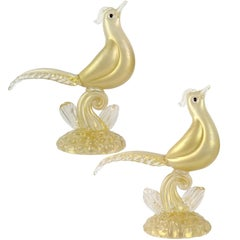 Barovier Toso Murano White Gold Flecks Italian Art Glass Pheasant Sculptures