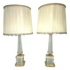 Barovier Toso Neoclassic Obelisk Iridize & Gold Infused Murano Glass Table Lamps