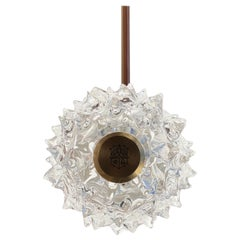 Barovier & Toso Opera 7387 Suspension Light in Crystal with Brushed Gold Finish
