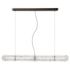 Barovier & Toso Opera 7388 Suspension Light in Crystal with Black Nickel Finish