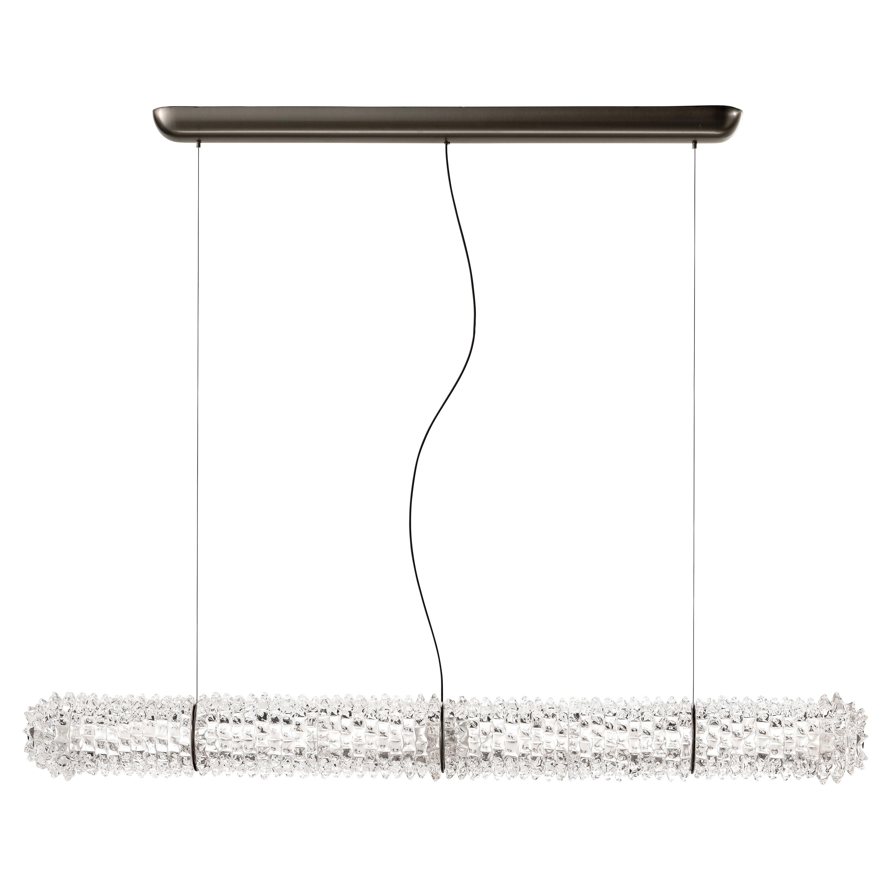 Barovier & Toso Opera 7388 Suspension Light in Crystal with Brushed Gold Finish