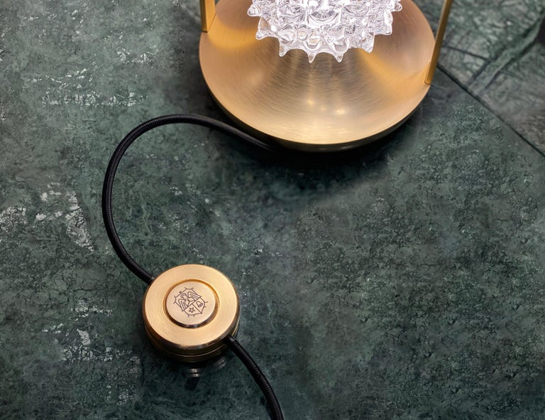 Barovier & Toso Opera 7391 Table Lamp in Crystal with Brushed Gold Finish For Sale 7