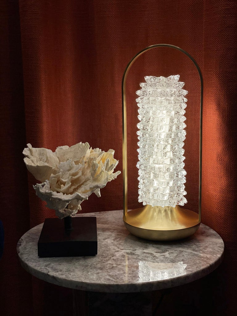Barovier & Toso Opera 7391 Table Lamp in Crystal with Brushed Gold Finish For Sale 2