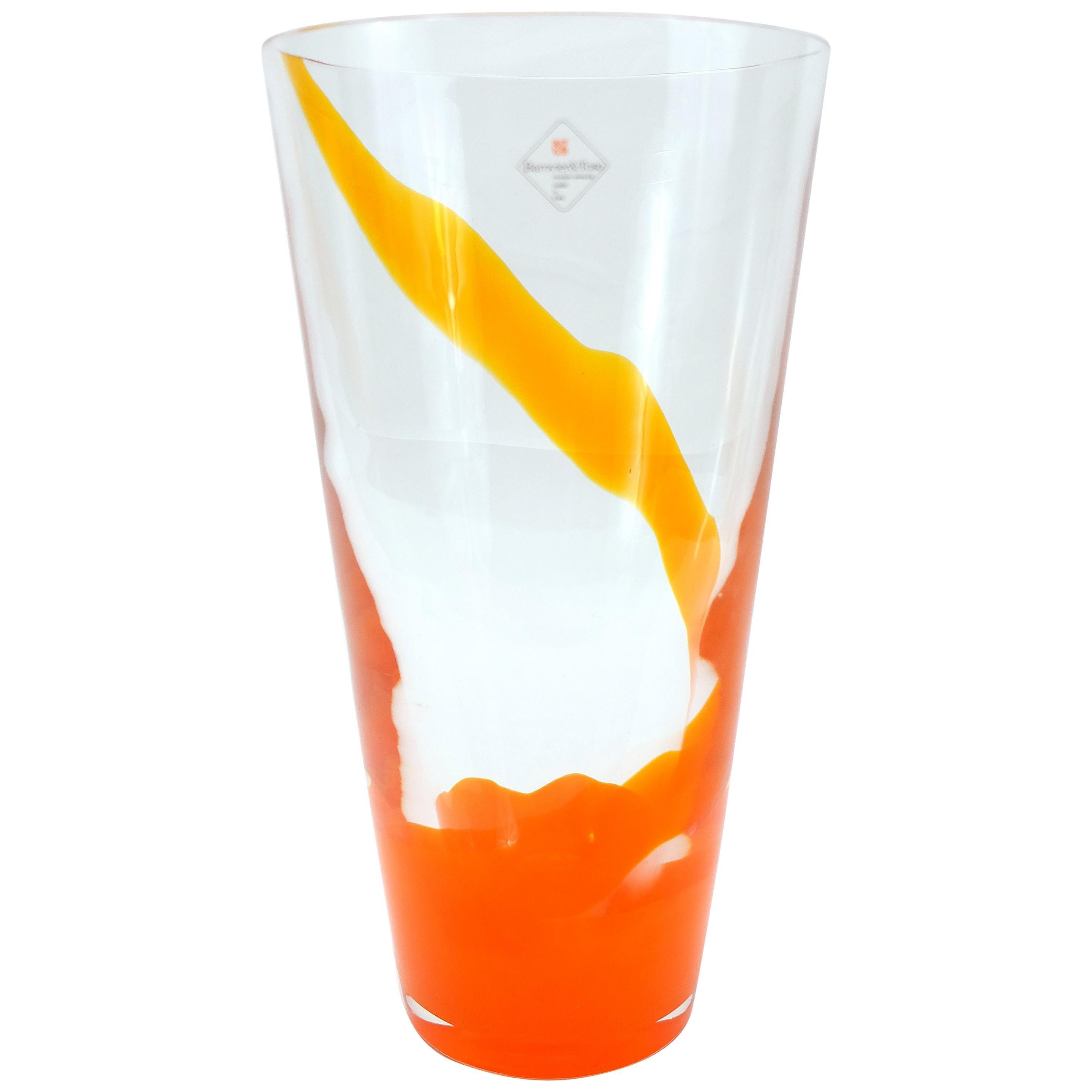 Barovier & Toso Orange Murano Glass Vase