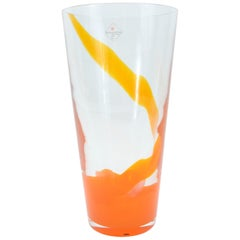 Barovier & Toso Orange Murano Glass Vase