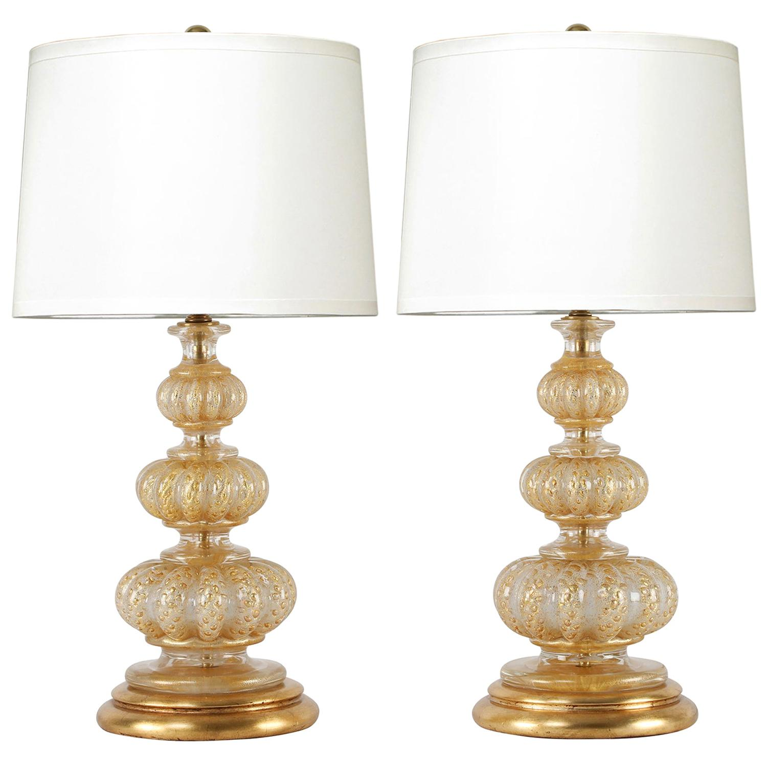 Barovier & Toso Pair of Beautiful Hand Blown Glass Table Lamps, 1950s