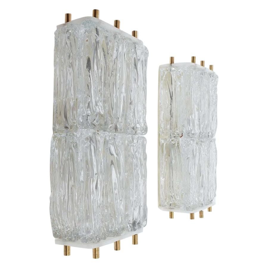 Barovier & Toso Pair Of Glass and Brass Block Sconces, Italy, Circa 1955