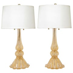 Barovier & Toso Pair of Hand Blown Glass Table Lamps with Gold Inclusions, 1950s