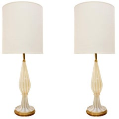 Barovier & Toso Pair of Handblown Table Lamps, 1950s
