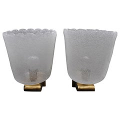 Barovier & Toso Pair of Midcentury Italian Sconces in Brass and Murano Glass
