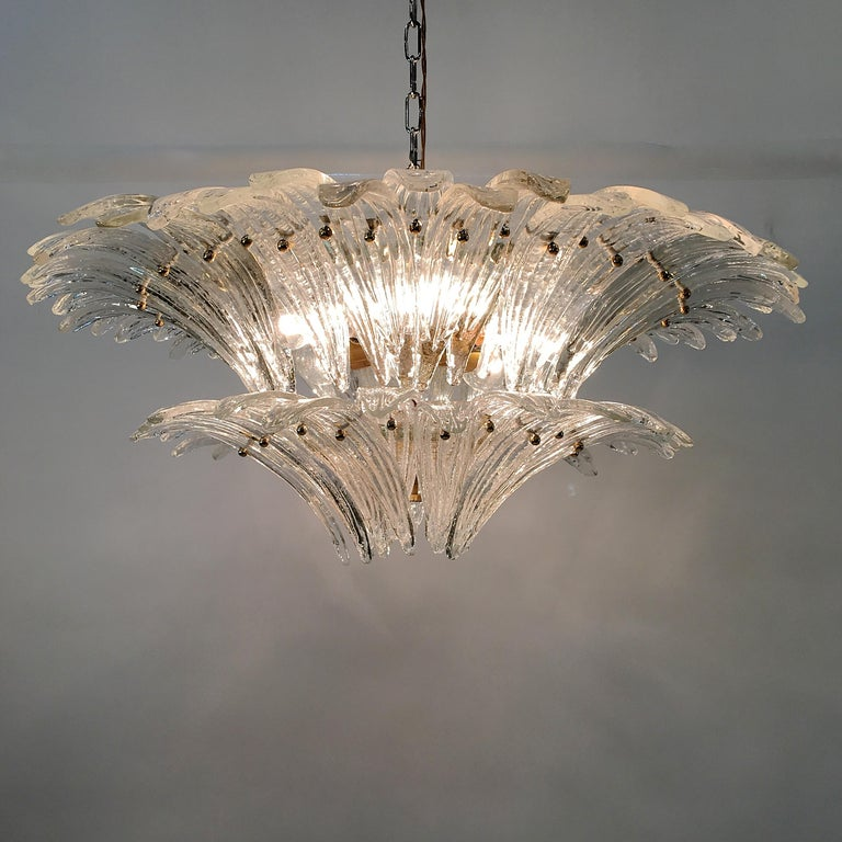 Late 20th Century Barovier & Toso Palmette Chandelier For Sale