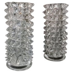 Barovier & Toso Set of Two Rostrato Vases in Murano Glass, 1940s