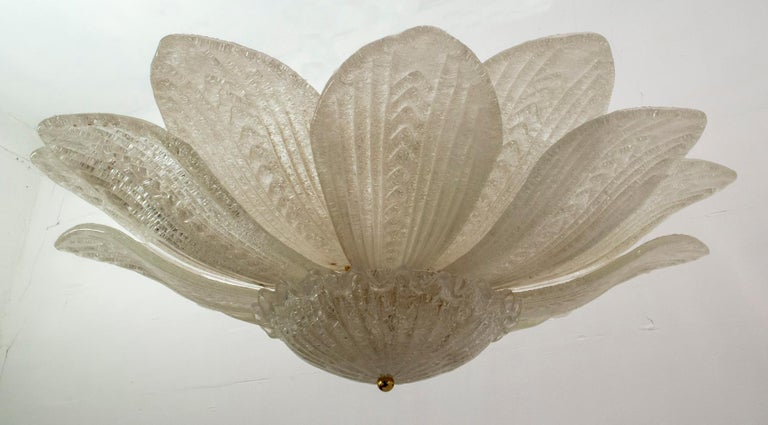 Brass Barovier & Toso Style Midcentury Murano Glass Italian Ceiling Chandelier, 1970s For Sale