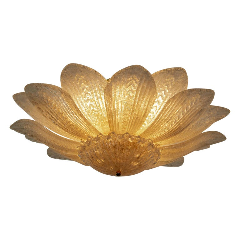 Barovier & Toso Style Midcentury Murano Glass Italian Ceiling Chandelier, 1970s For Sale