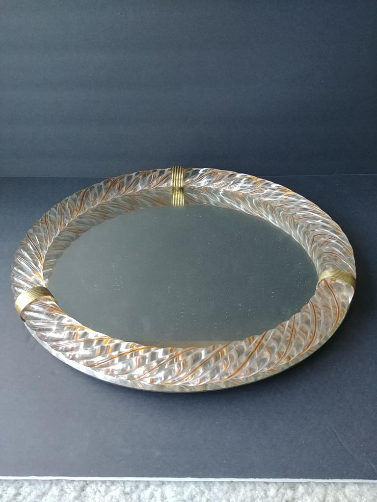 Italian Barovier & Toso, Threaded Yellow/Gold Murano Glass Wall/Table, Vanity Mirror For Sale
