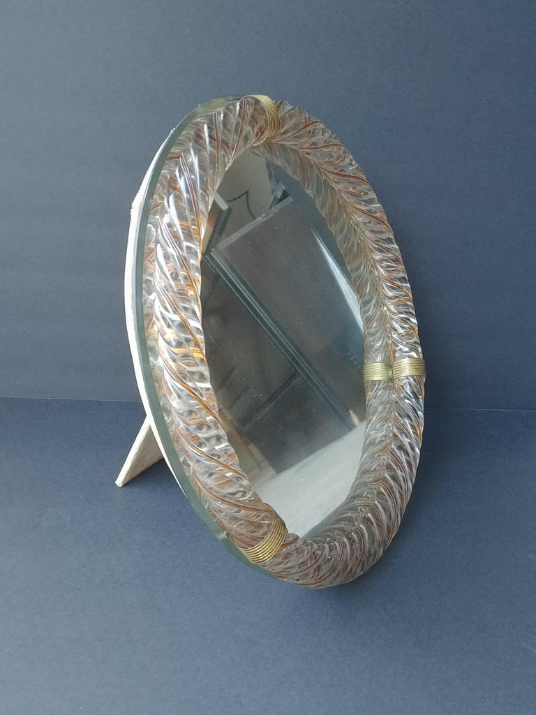 Hand-Crafted Barovier & Toso, Threaded Yellow/Gold Murano Glass Wall/Table, Vanity Mirror For Sale