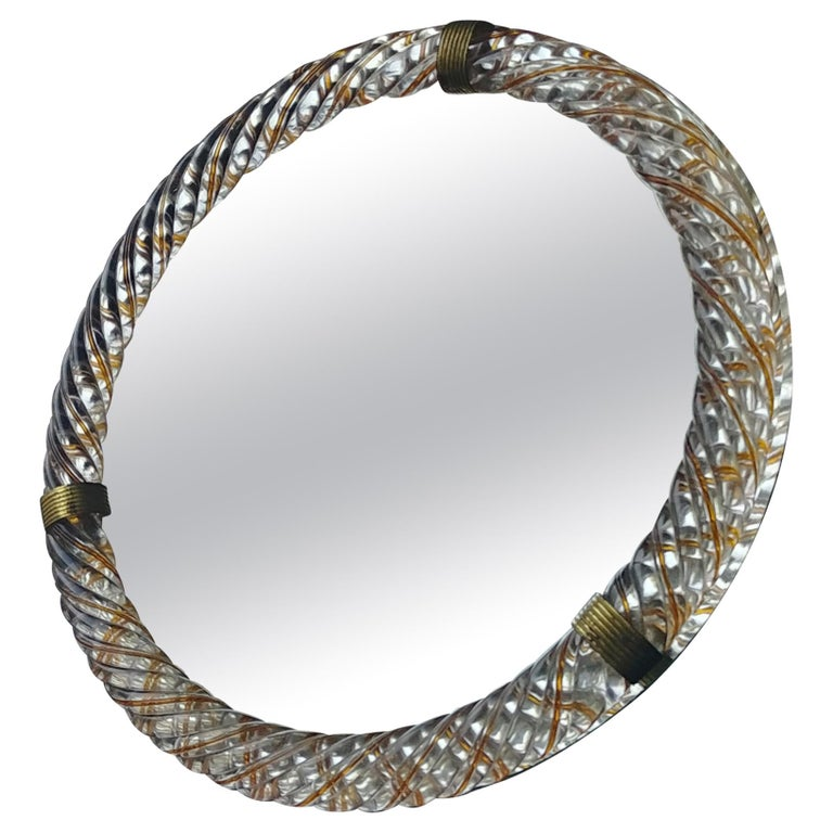 Barovier & Toso, Threaded Yellow/Gold Murano Glass Wall/Table, Vanity Mirror For Sale