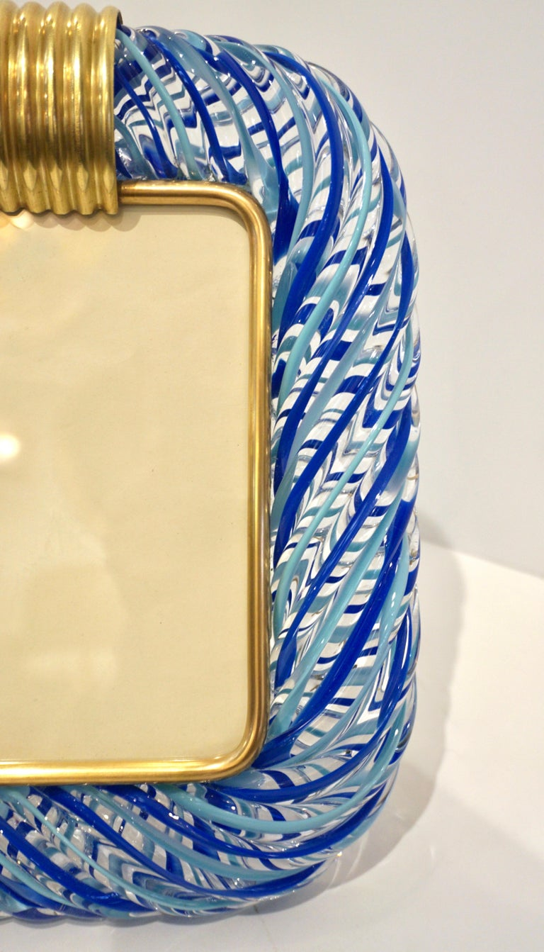 Mid-Century Modern Barovier Toso Vintage Light and Dark Blue Crystal Murano Glass Photo Frame For Sale